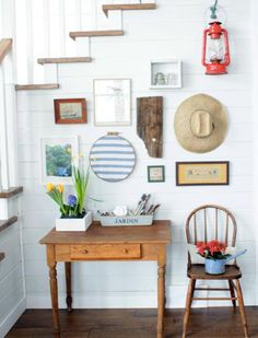 Gallery walls aren't just for artwork: Mix in found objects, travel keepsakes, small sculptures and other three-dimensional objects for a more varied and compelling arrangement.