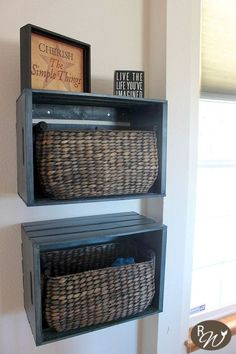 Hometalk :: DIY Mudroom Storage Crates using baskets and plain crates (she got them half off at the hobby store)