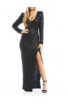 Sequin Split Maxi Dress Black