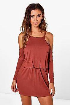 Petite Nina Cold Shoulder Frill Long Sleeve Dress