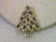 Gold tone Rhinestone Green & Clear Christmas Tree Brooch, signed FM #FM