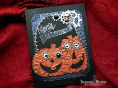 For Halloween lovers with a gear or two loose. Decorated with embossed metallic papers, die cuts and metal embellishments, this greeting card will appeal to any fan of Halloween.