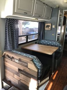 Motorhome Remodel ~ Part 8 (Dinette Butcher Block Table & Sink Cover) - We're getting so close to being completely done with our remodel! My awesome hubby used some of - Rv Campers, Camper Trailers, Happy Campers, Travel Trailers, Travel Trailer Remodel, How To Remodel A Camper, Popup Camper Remodel, Travel Trailer Decor, Teardrop Campers