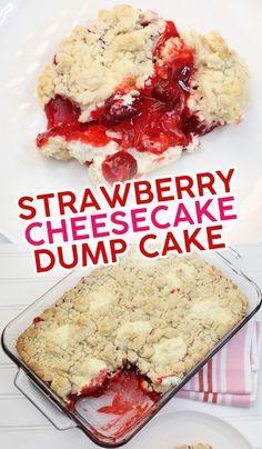 Dump Cake Recipes, Baking Recipes, Dessert Recipes, Dump Cakes, Strawberry Desserts, Strawberry Cheesecake Cake, Strawberry Cobbler, Strawberry Bread, Easy Desserts