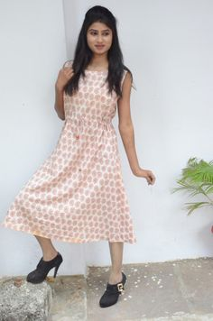 Red paisley Bagh print Cotton dress