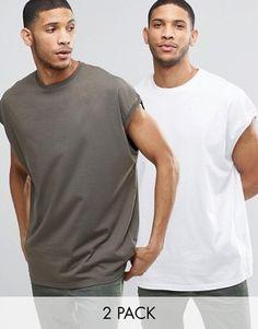1a12ef5ea7a77e ASOS – Ärmellose Super-Oversize-T-Shirts im 2er-Pack in Khaki