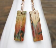 Picasso jasper earrings bamboo motif natural by ArtfulHummingbird, $67.50.  www.artfulhummingbird.etsy.com
