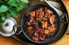 A medley of spices and sweet tomato make this Indian-inspired eggplant chutney delicious.  I used less chilli and used it as a sauce with steamed rice, cauliflower and boiled eggs.