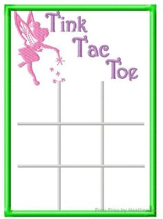 Tinkk Fairy Tic Tac Toe Game IN THE HOOP Machine Applique Embroidery Design, $7.00