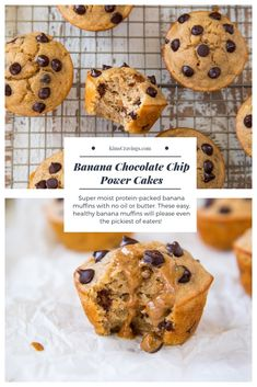 These Banana Chocolate Chip Power Cakes are super moist protein-packed banana muffins with no oil or butter and made with Kodiak Cakes mix. These easy, healthy banana muffins will please even the pickiest of eaters! Kodiak Cake Muffins, Kodiak Cakes, Healthy Banana Muffins, Banana Chocolate Chip Muffins, Cake Chocolate, Chocolate Chips, Apple Muffins, Oatmeal Muffins, Breakfast Muffins