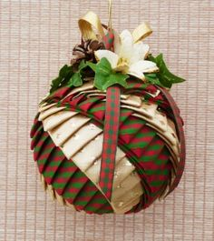 Gold and Green Checked Festive Ribbon Ornament