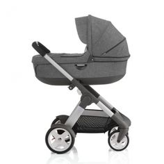 STOKKE® CRUSI® Stroller Black Melange - You can swap out carrier; chassis itself is 18 pounds (good for plane)