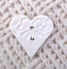 Ceramic Heart Button 4cmX4cm Cream Ivory handmade by BeadyMagpie, £6.99