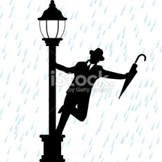 Singing in the Rain Silhouette | Stickers Singing in the ...