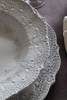 Beautiful detail on these white plates