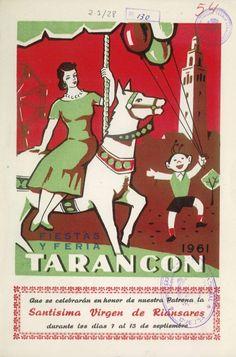 Programa de fiestas de Tarancón (Cuenca) en honor a la Virgen de Riánsares del 7 al 13 de septiembre de 1961 Se celebra la tradicional Feria de Ganado #Fiestaspopulares #Tarancon #Cuenca