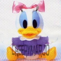 Crochet doll amigurumi PDF pattern Baby Daisy Duck by cheerymarjo, $6.00