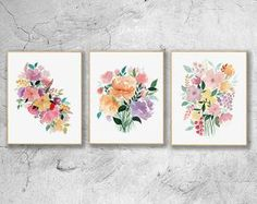 Abstract Flowers Watercolor Paintings, Floral Art Print Set Of 3, Abstract Flower Wall Decor,Floral Poster, Botanical Home Decor, Flower Art