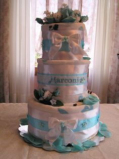 Towel cake made from the bridal registry towels!