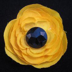#Handmade Yellow Flower and Black Jewel Hair Clip by ninjavspirategifts, $8.00