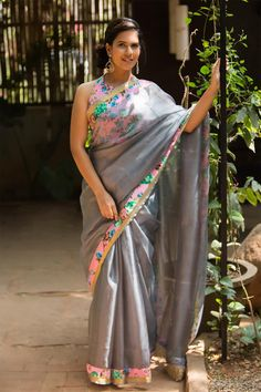 Grey silk Kota saree with dull gold and baby pink floral raw silk border #saree #blouse #houseofblouse #indian #bollywood #style #kota #grey #pink #floral #border