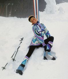 Veruschka modeling Pucci ski wear, 1969.