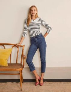 Kathleen Jersey Top - Ivory/ Navy. Kathleen Jersey Top.Ivory/ Navy.We've updated the essential striped crew neck with a delicate broderie collar. This brings a feminine feel to this classic-with-a-twist. It's made from a soft, breathable cotton blend and has a neat button fastening at the back. There are two long-sleeved options to pick from in traditional Breton colours. Boden Women, Boden Uk, Gamine Style, Classic Wardrobe, Ethical Clothing, Christmas Fashion, Clothing Labels, Navy Women, Fashion Brand