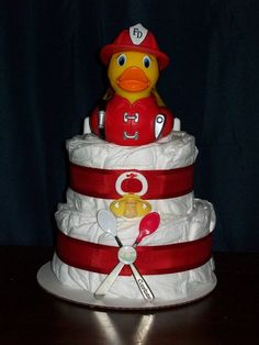 Fire Fighter Rubber Duckie Cake