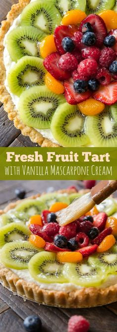 How to make homemade fresh fruit tart with buttery pastry crust and mascarpone cream filling! Recipe and step by step pictures on sallysbakingaddiction.com