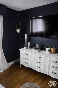 This navy master bedroom is so great with the vintage white dresser! I like how &; This navy master bedroom is so great with the vintage white dresser! I like how &; Navy Master Bedroom, Navy Blue Bedrooms, Master Bedroom Makeover, Bedroom With Tv, Pretty Bedroom, Girls Bedroom, Navy Blue Walls, Bedroom Simple, Vintage White Dresser