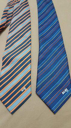 fcbb0c7be6f3 LOT of 2 ALDI SUD Huren Men's Neckties Striped Blue Gray Classic length Tie  #fashion