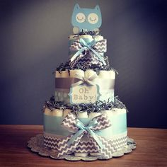 Owl diaper cake with die cut owl and 'oh by JennyKnickDesigns