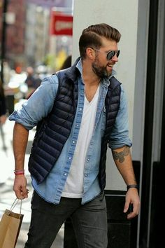 Fall menswear layers / puffer vest, chambray with white t shirt
