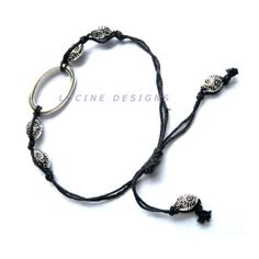 Macrame bracelet black and silver accents fashion jewelry ooak  $19.99