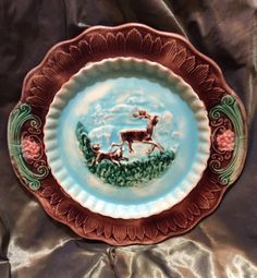 French Antique Majolica Stag Deer and Dog by AnniesEclectricity