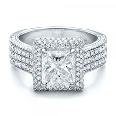 Custom Micro-Pave Halo Diamond Engagement Ring Platinum Ring 212 Diamonds - 1.06 ctw Clarity: VS2 - Color: F-G