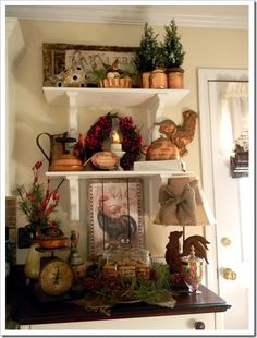 shelf styling. use copper for fall!
