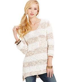 American Rag Three-Quarter-Sleeve Striped Tunic Sweater - Sweaters - Women - Macy's