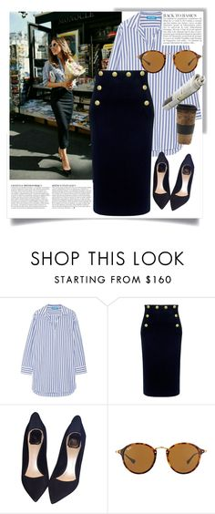 """""""Stripe coordinate2"""" by chacharito on Polyvore featuring M.i.h Jeans, RED Valentino, Christian Dior, Ray-Ban, Free People and Anja"""