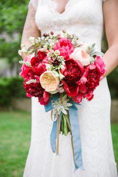 Red, ivory and blush wedding bouquet: http://www.stylemepretty.com/2016/08/31/dramatic-romantic-wedding-bouquets/ Photography: Jillian Rose - http://www.jillianrosephotography.com/
