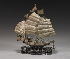 Antique Chinese Silver Sailing Ship,ca 1900.