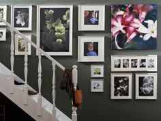 stairs picture hanging with Ikea frames Ribba