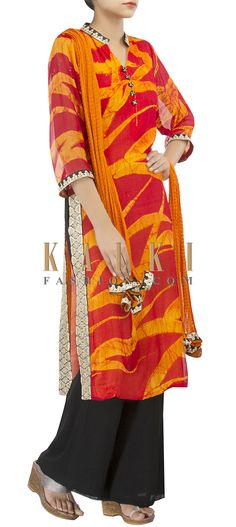 Buy Online from the link below. We ship worldwide (Free Shipping over US$100) http://www.kalkifashion.com/straight-suit-in-red-and-orange-adorn-in-zari-and-sequin-side-panels-only-on-kalki.html