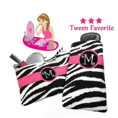 Check out Monogram Zebra Print Clutch Eyeglass Case Personalized Black White Animal Print Clutch Tween Girl Gift Tween Purse iPhone Case Black White on sewsationalstitches