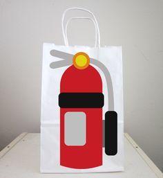Firetruck Goody Bags, Fire Extinguisher Goody Bags, Firetruck Favor Bags, Fireman Birthday Goody Bags, Firefighter Goody Bags by CraftyCue on Etsy