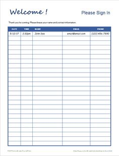 Sign Up Sheet Template   Free Download For Word Pdf  Sample