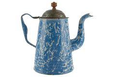 Antique  Blue Coffee Pot on OneKingsLane.com