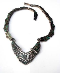 Vintage Necklace | Designer unknown.  Sterling silver inlaid with turquoise.  Mexico