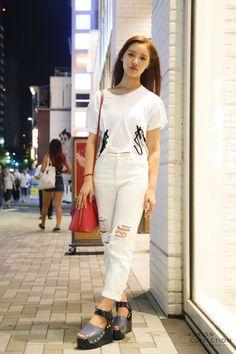 Snap of Mayuko Fujiwara at Harajuku. Japanese girls' summer fashion.| FASHION COLLECTION from TOKYO