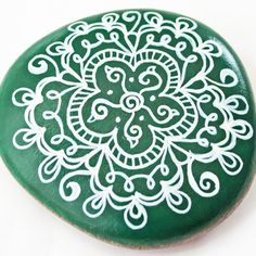 Hand Painted White and Green Work Floral Rock by JandEDesigns